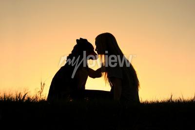 Bild Deutsch Schäferhund, silhouetted gegen den sonnenuntergehenden Himmel
