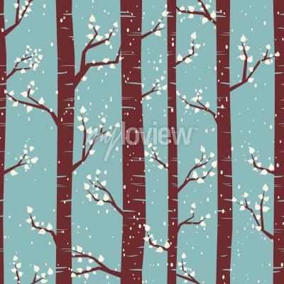 Fototapete Nahtlose Fliesen-Muster mit Birken unter dem Schneefall