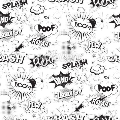 Fototapete Comic schwarze Sprechblasen in Pop Art Stil nahtlose Muster