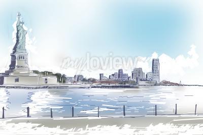 Bild Line Art Abbildung der Freiheitsstatue und im Stadtzentrum gelegenen New York City an einem hellen blauen sonnigen Tag. Reise- und Tourismuskonzept