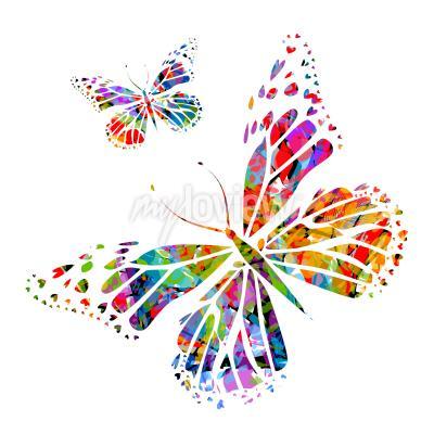 Fototapete Silhouette Schmetterling auf Flecken der Farbe