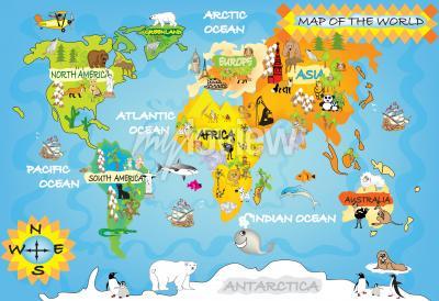 Fototapete Kinder Weltkarte
