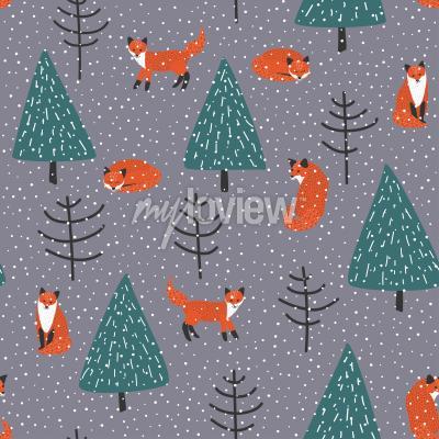Bild Füchse im Winter Wald Vektor nahtlose Muster