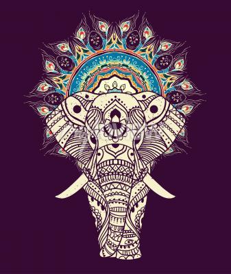 Bild Nahtlose handgezeichnete Karte mit Elefanten