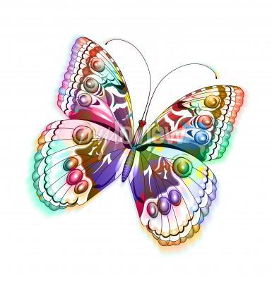Sticker Bunte isolierte Schmetterling