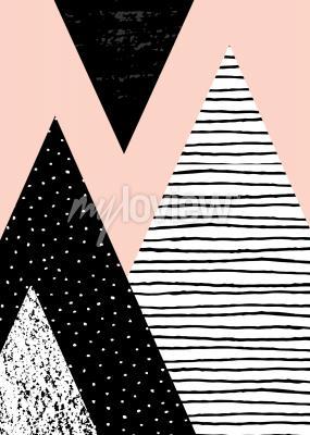 Fototapete Abstrakte geometrische Komposition in schwarzem Weiß und Pastellrosa