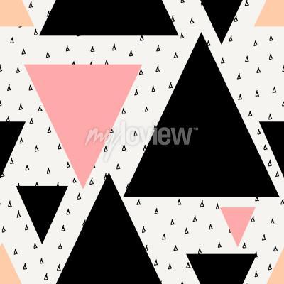 Fototapete Abstrakt geometrische nahtlose wiederholung Muster in schwarzer Sahne Pastell rosa und orange