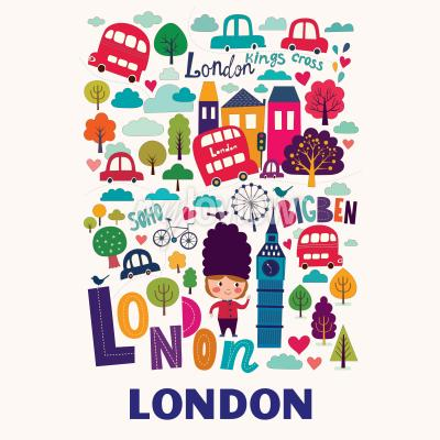 Fototapete Muster mit London-Symbolen