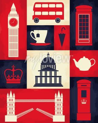 Poster Retro-Stil Poster mit London Symbole und Sehenswürdigkeiten