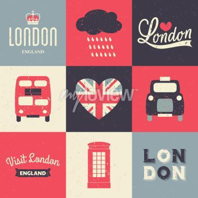 Poster Eine Reihe von Vintage-Stil Grußkarten mit London Symbole