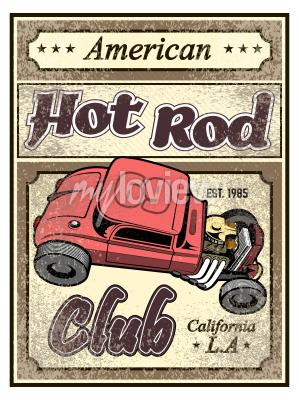 Hot rod custom auto poster