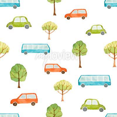 Fototapete Aquarell nahtlose Muster Auto Bus und Bäume