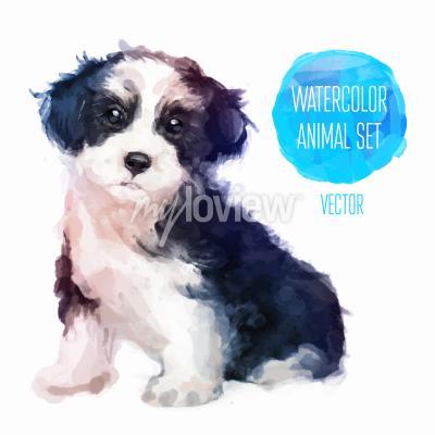 Poster Hund Hand gemalt Aquarell Illustration