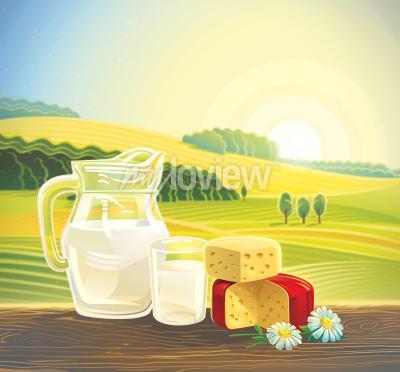 Poster Ländliche Landschaft mit Satz Milchprodukte