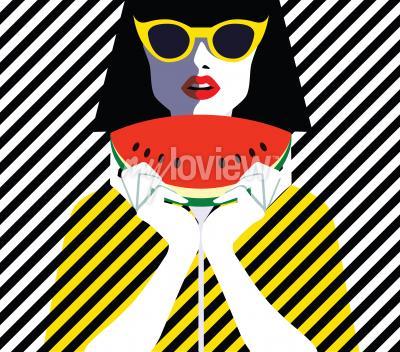 Bild Schöne junge Frau mit Sonnenbrille und Wassermelone, Retro-Stil