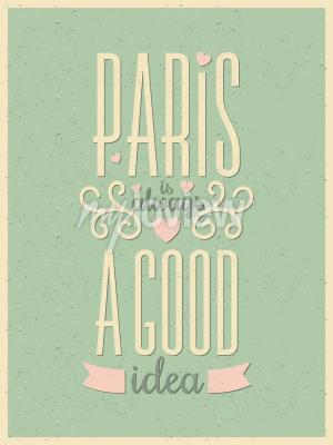 Fototapete Weinleseart-Typografie Paris-Plakat