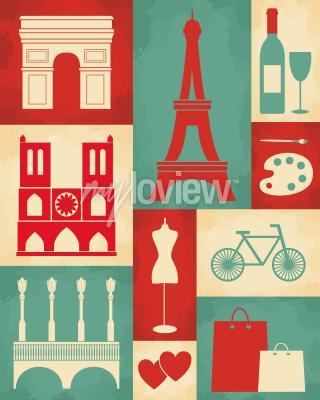 Fototapete Retro-Stil Poster mit Paris Symbole und Sehenswürdigkeiten