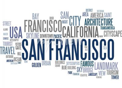 Fototapete San Francisco Wort Wolke
