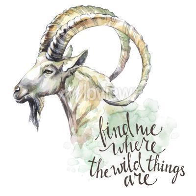 Bild Aquarell Ziege mit handschriftlichen Inspiration Satz