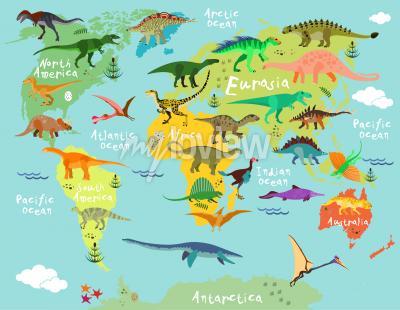 Fototapete Dinosaurier Weltkarte für Kinder und Kinder