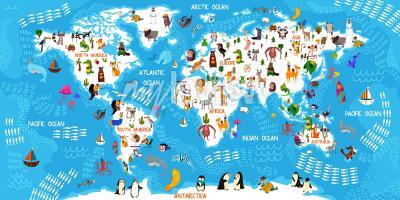 Fototapete Cartoon Tier Weltkarte