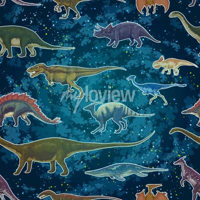 Fototapete Diplodocus Tyrannosaurus Rex Pterodactylus ... in nahtlose Muster, handgezeichnete Vektor-Illustration