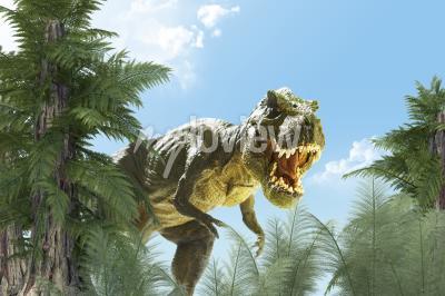 Fototapete Dinosaurier im Dschungel Hintergrund 3D render