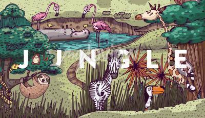 Fototapete Wildes Leben im Dschungel mit verschiedenen Tieren