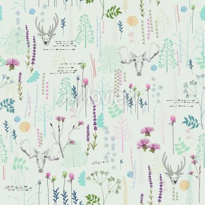 Fototapete Nahtloses Muster mit Baumstrauchlaubrotwildelchtieren auf hellem Hintergrund in Weinlese styl