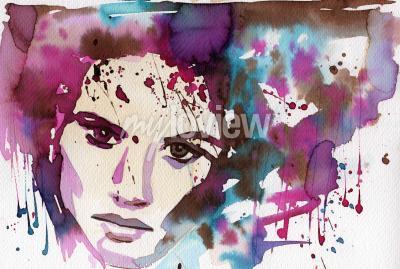Bild Aquarellillustration, um das Porträt der Fantasie eines jungen Mädchens darzustellen.