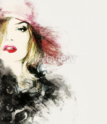 Bild Artfrauenporträtzusammenfassungs-Modeaquarellillustration