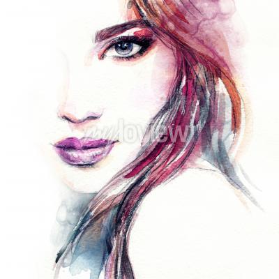 Bild Abstrakte Frauengesichts-Aquarellmalerei