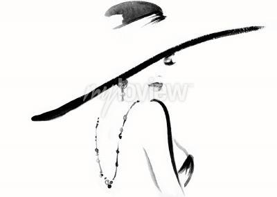 Bild Frauenporträt mit Hutmodeillustration