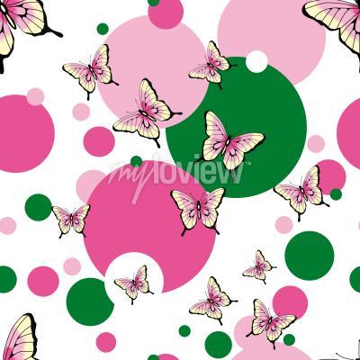 Sticker Nahtloses Vektormuster der Schmetterlinge