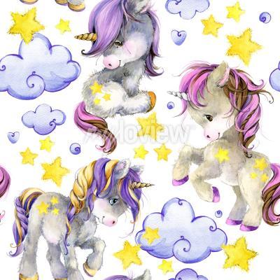 Fototapete Cute unicorn watercolor seamless pattern