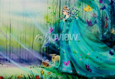 Fototapete Scenic view of fantasy world with fairies and ethereal animals