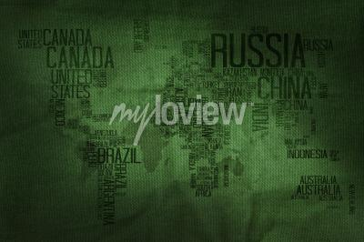 Fototapete Countries Name Typography World Map on Military Fabric Texture Background
