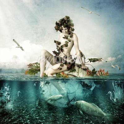 Bild Mermaid underwater Beautiful woman seating on a shell in sea or ocean