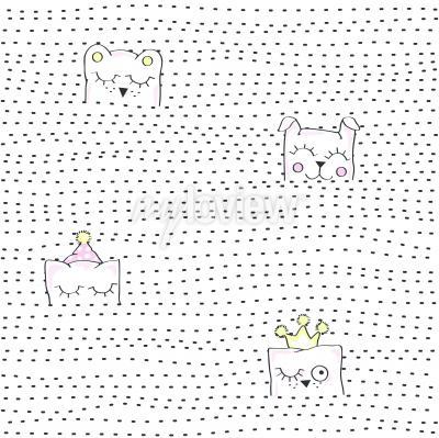 Fototapete Vector illustration of seamless baby pattern
