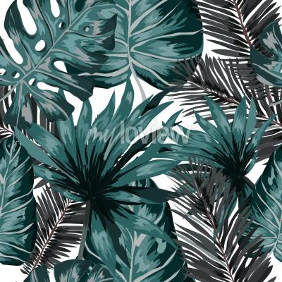 Fototapete Watercolor seamless pattern with tropical leaves palms monstera passion fruit