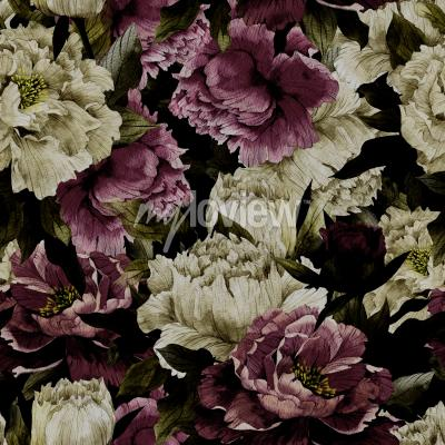 Fototapete Seamless floral pattern with roses on dark background watercolor
