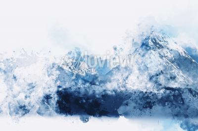 Bild Abstract mountains in blue tone digital watercolor painting
