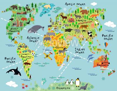 Sticker Cartoon world map with landscape and animal