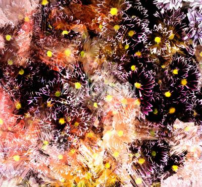 Bild Abstract floral composition with small chrysanthemums on grunge striped blurred background