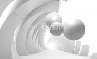 Fototapete 3d wall tunnel with flying balls 3d rendering