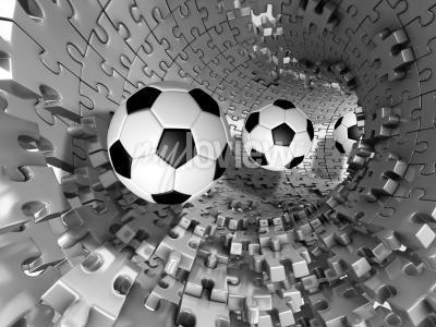 Fototapete 3d footballs in the tunnel