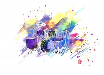 Bild Watercolor stains drum set