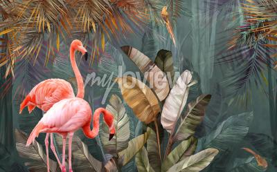 Fototapete Flamingo background design with tropical palm and banana leaves