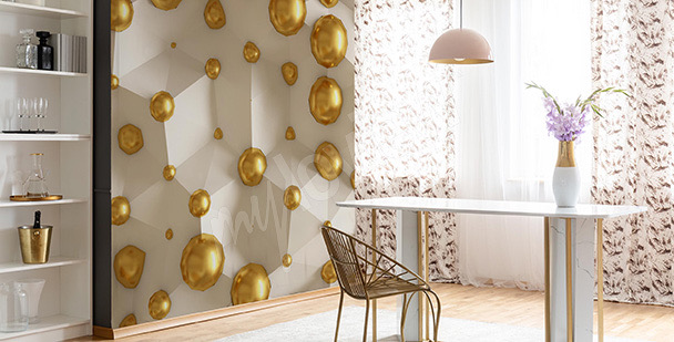 3D Fototapete gelbe Perlen