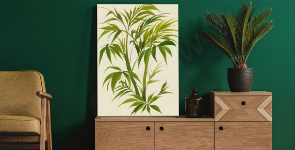 Aquarellbild mit Blättern